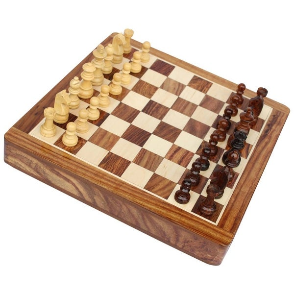 Benzara Wooden Chess Set With Felted Storage, Brown And Beige
