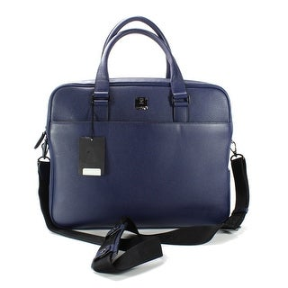 MCM NEW Navy Blue Men's Johan Zip Pebbled Leather Briefcase w/ Strap