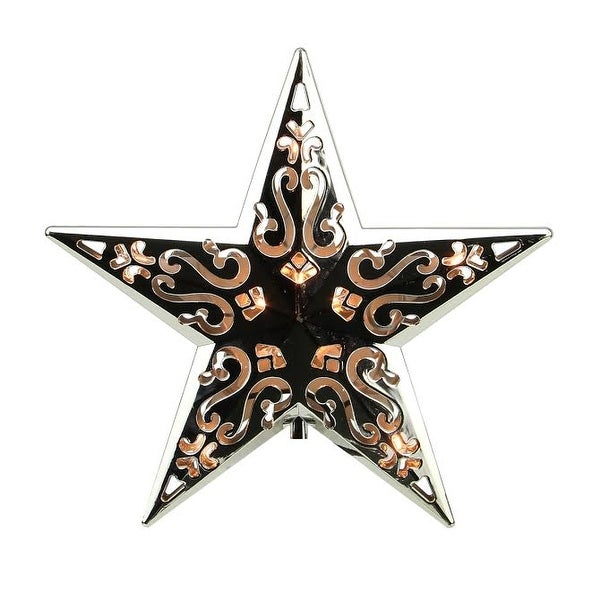 "8"" Lighted Silver Cut-Out Design Decorative Star Christmas Tree Topper - Clear Lights"