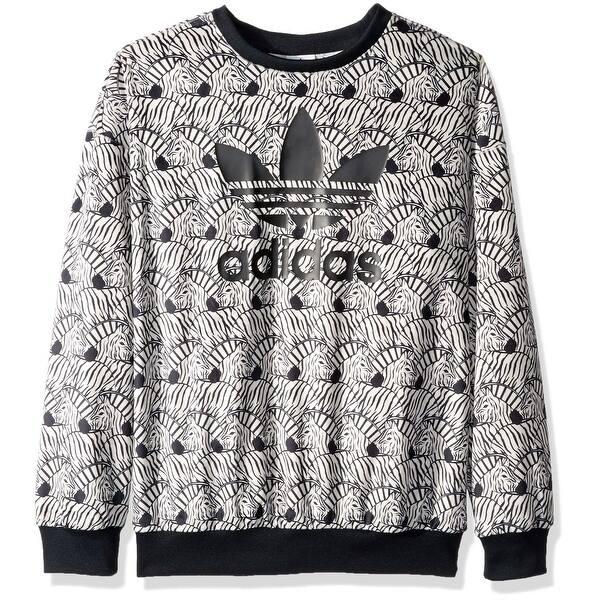 2fef22f4e3c Shop Adidas Black White Girls Size XL Zebra Print Logo Crewneck ...