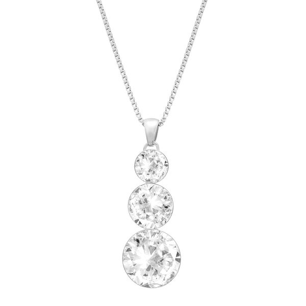 Crystaluxe Triple Drop Pendant with Swarovski Elements Crystals in Sterling Silver - White