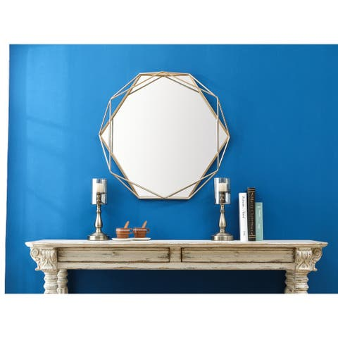Metal Octogonal Gold Frame Wall Mirror - 29.53in. H x 31.5in. W