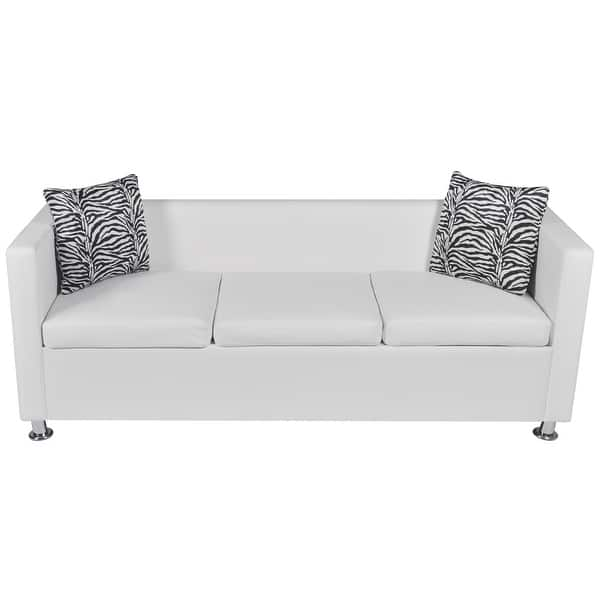 Admirable Shop Vidaxl Sofa 3 Seater W 2 Pillows Modern White Pabps2019 Chair Design Images Pabps2019Com