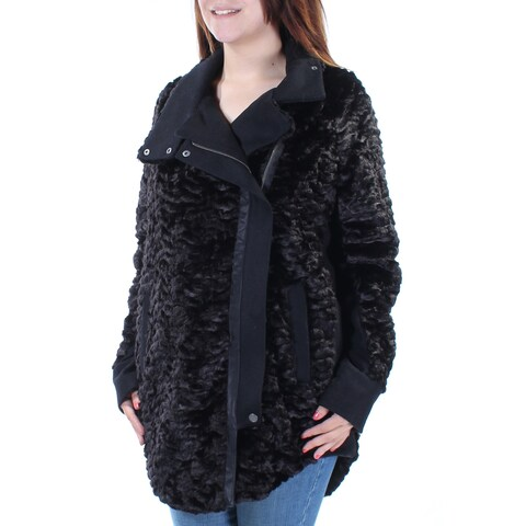 KIIND OF $199 Womens New 3437 Black Zippered Faux Fur Peacoat Casual Coat S B+B