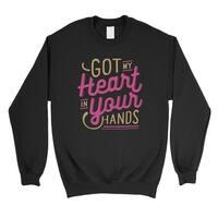 Got My Heart Unisex Black Crewneck Sweatshirt