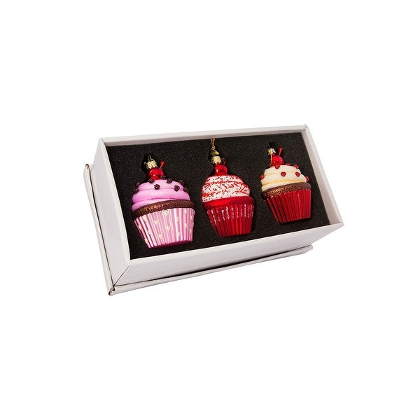 "3.65"" Noble Gems Cupcake Glass Ornament 3pc Set"