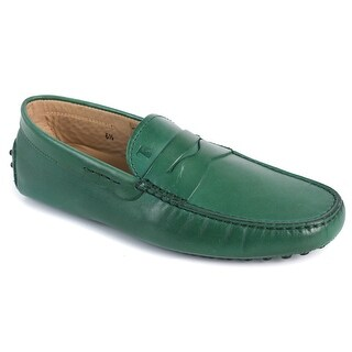 Tods Mens Solid Green Leather Gommini Moccasins