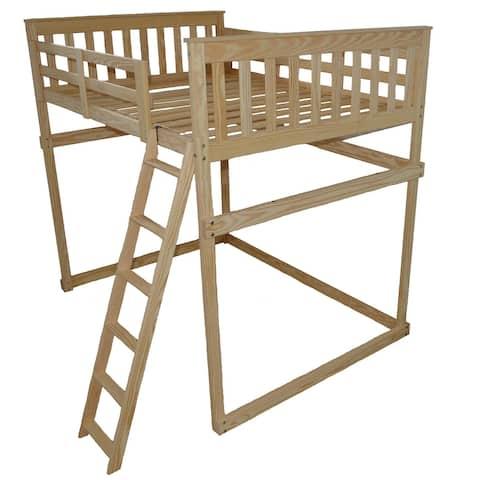 Pine Full Mission Loft Bed with Side Ladder
