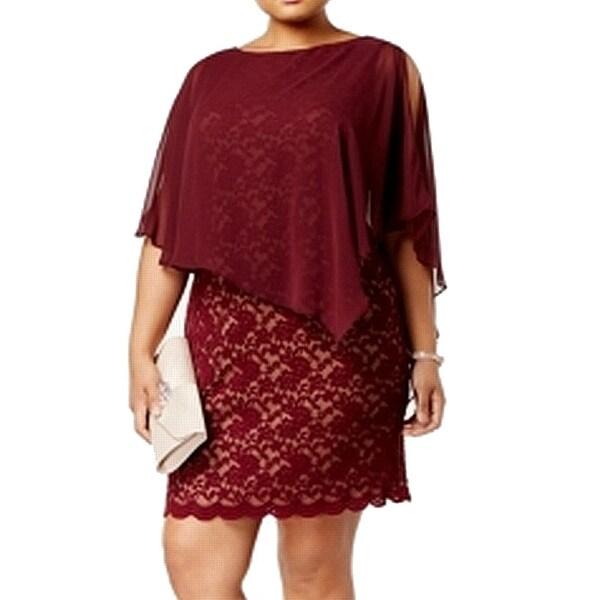 Connected Apparel Purple Women's Size 20W Plus Lace Sheath Dress
