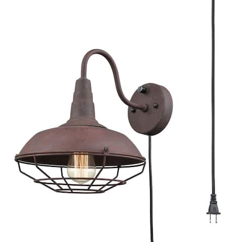 Rustic wire cage gooseneck wall sconce, vintge industrial plug in wall light fixture - Antique/Rust