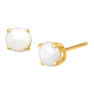 5/8 ct Natural Opal Stud Earrings in 10K Gold