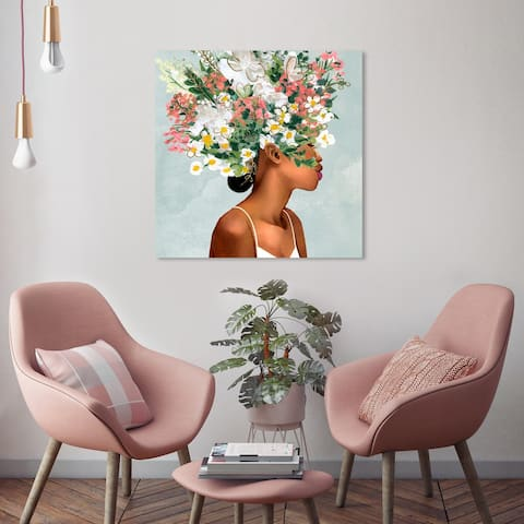 Oliver Gal 'Bundle of Flowers' Fashion and Glam Wall Art Canvas Print Portraits - Green, White