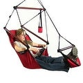 Sunnydaze Hanging Hammock Chair W/ Pillow & Drink Holder - Thumbnail 22