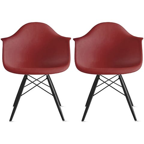 2xhome Set of 2 Designer Accent Chairs Dining with Arms Backs Molded Shell Desk Task Office Work Dowel Eiffel DSW Black Wood Leg