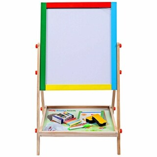 Costway Adjustable 2 in 1 Wooden Easel Chalk Drawing Board Black /
