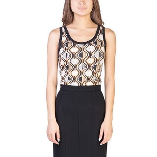 Prada Women's Viscose Silk Blend Geometric Print Tank Top Shirt Beige - S