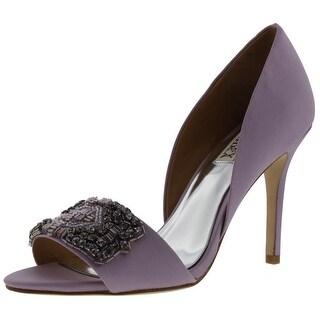 Badgley Mischka Womens Alessandra Silk Jeweled D'Orsay Heels - 6.5 medium (b,m)
