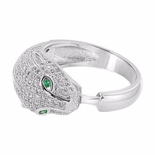 .925 Sterling Silver Lab Diamond Panther Face Ring Green Solitaire Eyes