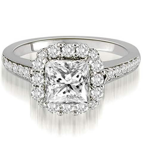 21f5a38a4dd9b6 1.17 CT Single Halo Princess & Round Diamond Engagement Ring in 14KT -  White H-I