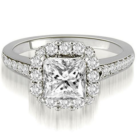 1.42 CT Single Halo Princess & Round Diamond Engagement Ring in 14KT - White H-I