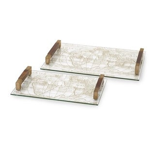 Set of 2 Worldly Glass Decorative Serving Trays 16- 20