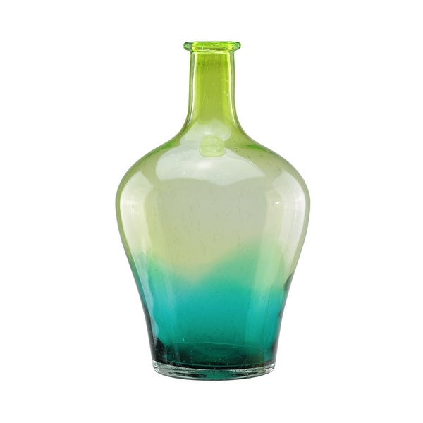 "15.5"" Chartreuse Green and Teal Blue Ombré Hand Blown Bubble Glass Vase"