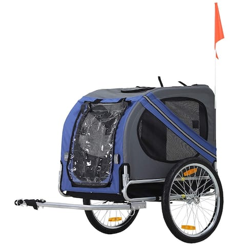 Aosom Bike Trailer Cargo Cart for Dogs and Pets with 3 Entrances Large Wheels for Off-Road & Mesh Screen, White - N/A