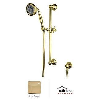 "Rohl 1311 Wall Mounted Hand Shower with Brass Handle, Slide Bar, 59"" Flexible Brass Hose, and Wall Outlet"