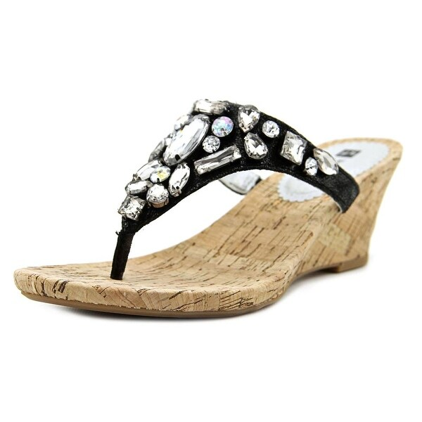 White Mountain Ablaze Women Open Toe Leather Black Wedge Sandal
