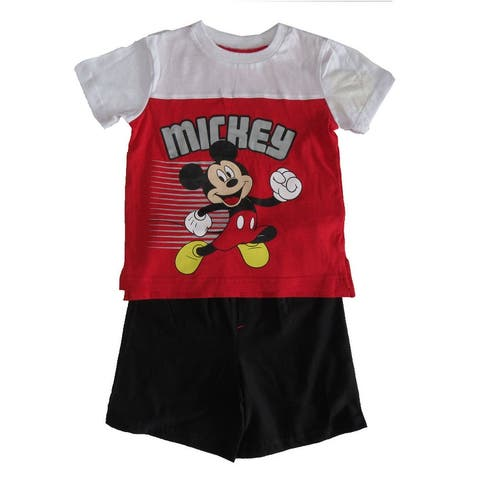 Disney Red White Mickey Mouse Short Sleeve Outfit Little Boys