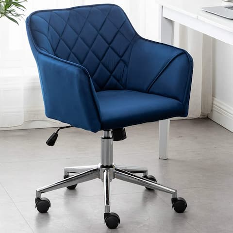 Executive Velvet Chair Blue Bucket Office 360 Swivel Diamond Tufted Plush Make-Up Vanity Office Job