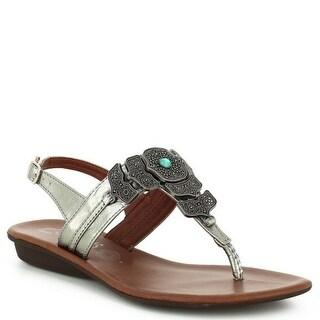 Nomadas Adult Pewter Silver Buckle Closure Flip Flop Trendy Sandals