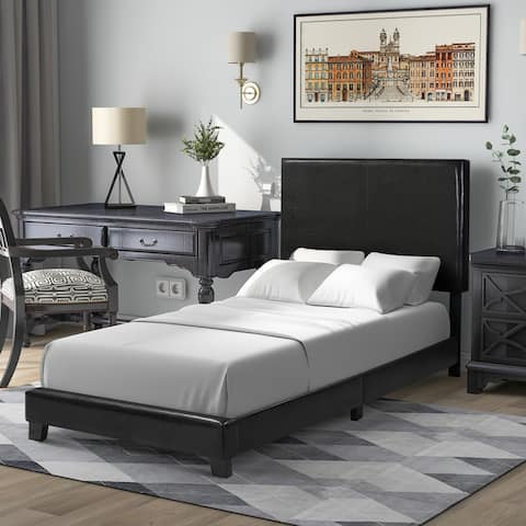 Vienna Faux Leather Upholstered Platform Bed with Wooden Slats, Twin