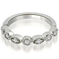 0.25 cttw. 14K White Gold Round Diamond Bezel Wedding Band