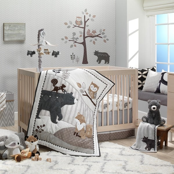 Lambs & Ivy Woodland Forest Animal Nursery 5-Piece Baby Crib Bedding Set - Gray. Opens flyout.