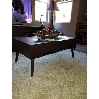 Noemi Mid Century Modern Rectangular Wood Coffee Table with Drawers by Christopher Knight Home