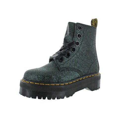 Dr. Martens Womens Molly Glitter Combat Boots Casual Ankle