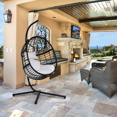 Agats Outdoor Wicker Basket Swing Chair with Cushions by Havenside Home