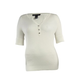 INC International Concepts Women's Solid Cuffed Knit Henley - washed white