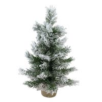 "18"" Flocked Pine Artificial Christmas Tree in Burlap Base - Unlit - WHITE"