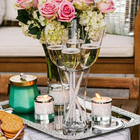 Sparkles Home Rhinestone 5-Piece Champagne Stem and Vase Set