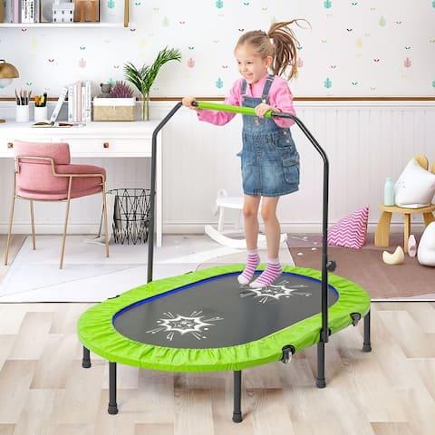 TiramisuBest Mini Parent-Child Twin Trampoline with Handrail-green - 4.58ft