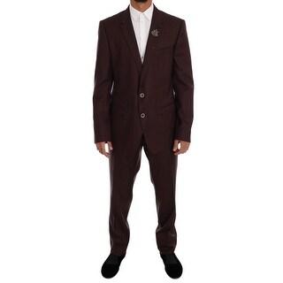 Dolce & Gabbana Dolce & Gabbana Bordeaux Wool Silk Crystal Slim fit Suit - it56-xl