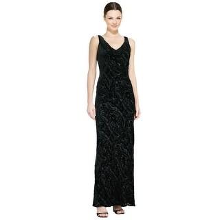 Carmen Marc Valvo Devore Beaded Cowlneck Evening Gown Dress - 14