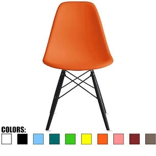 2xhome Orange - Eames Style Bedroom & Dining Room Side Ray Chair with Eiffel Dark Wood Dowel Legs