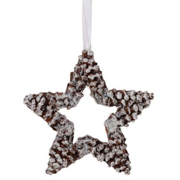 """10"""" In The Birches White Pine Cone Star Christmas Ornament - brown"""