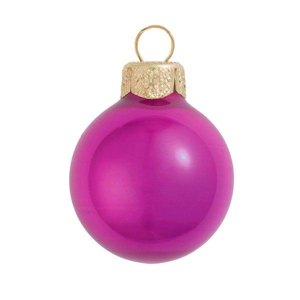 "12ct Pearl Raspberry Pink Glas Ball Christmas Ornaments 2.75"" (70mm)"