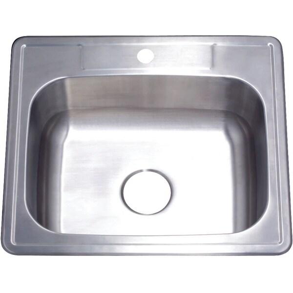 """Kingston Brass GKTS252291 Studio 25"""" Drop In Single Basin Stainless Steel Kitchen Sink - Brushed Nickel"""