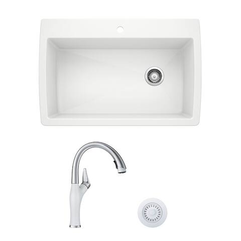 Blanco Diamond/Artona Dual Mount Kitchen Sink and Faucet Set and Strainer - N/A