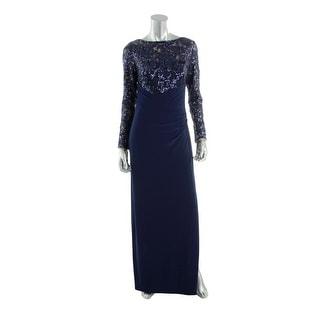 Lauren Ralph Lauren Womens Sequined Long Sleeves Evening Dress